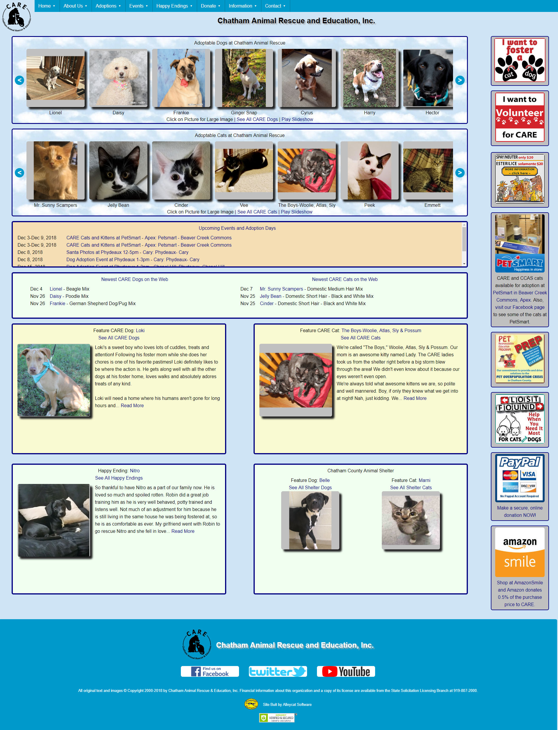 Chatham Animal Rescue and Education Web Site